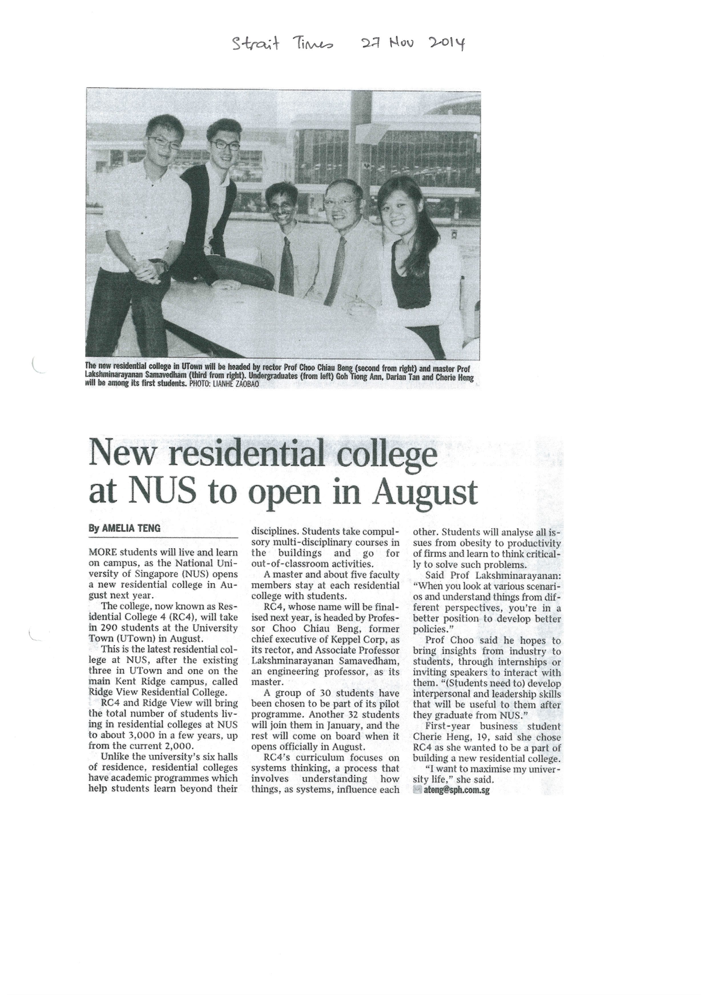 New residential college at NUS to open in August