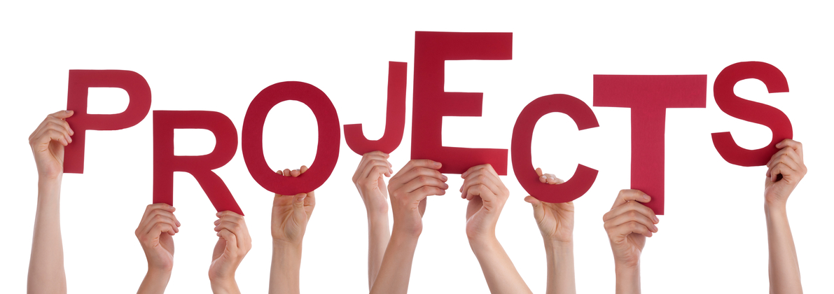 Many Caucasian People And Hands Holding Red Letters Or Characters Building The Isolated English Word Projects On White Background